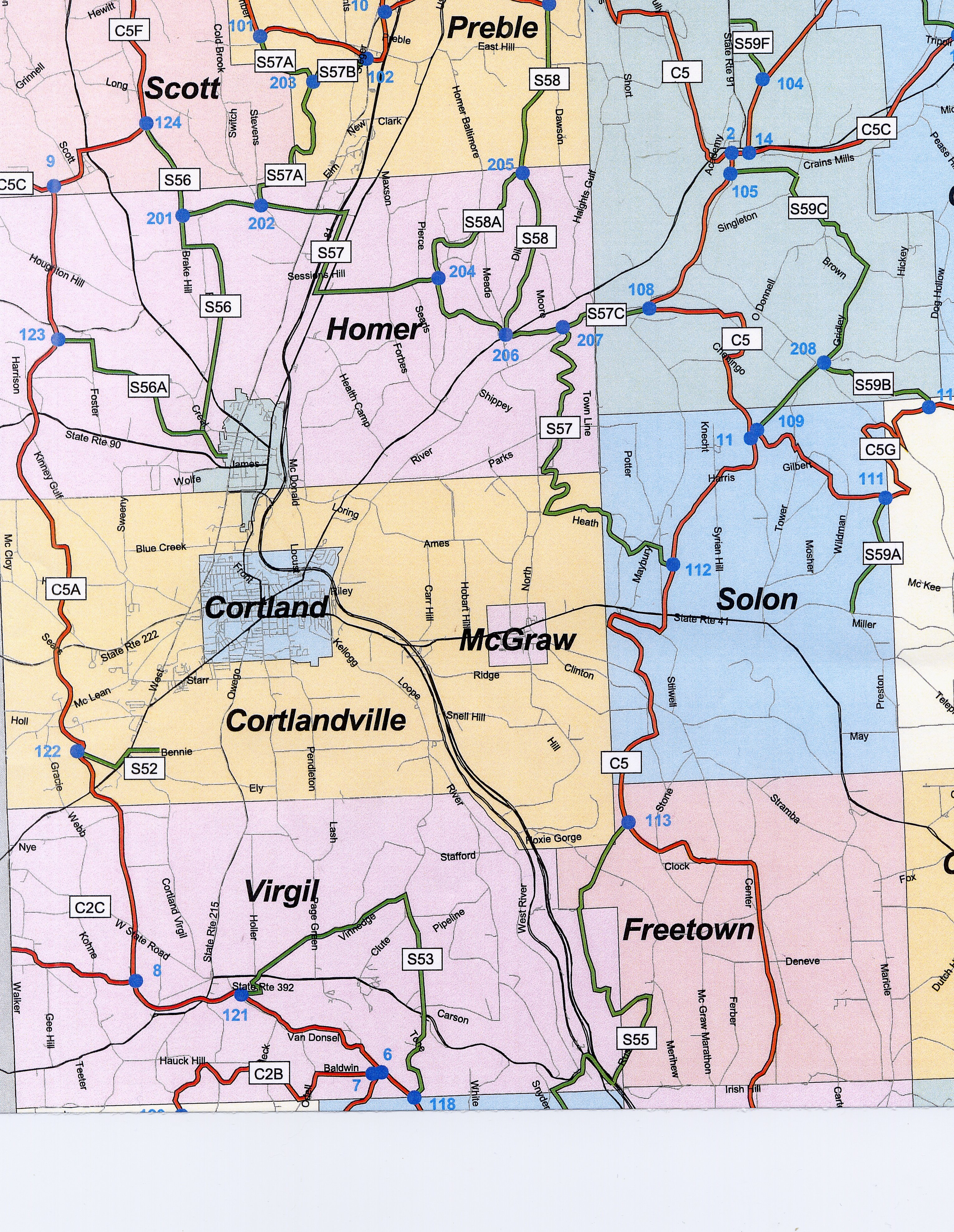 Cortland County Map